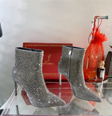 Rene Caovilla drilled pointed high heel boots